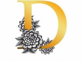 金色字母字母D.