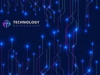 抽象的技术线条与照明辉光未来派
