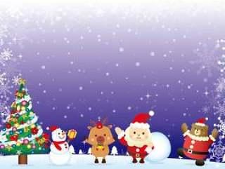 圣诞老人来到圣诞夜圣诞卡