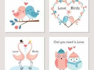爱传染媒介卡片的逗人喜爱的鸟