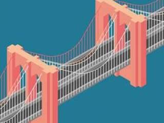 布鲁克林大桥纽约等轴测图