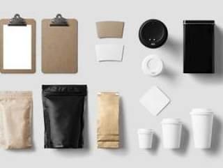 VI模板-品牌形象智能贴图办公-纸杯纸袋子-茶-咖啡PSD