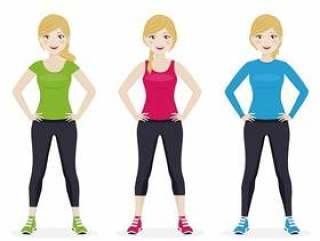 演奏与另外运动服的妇女体育