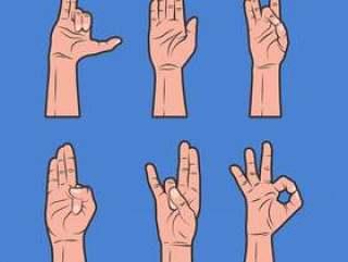 愈合手传染媒介汇集各种各样的姿势