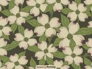 矢量无缝模式的山茱萸开花主题