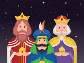 在夜传染媒介例证的三位国王字符