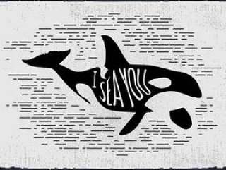的老式手绘鲸鱼剪影