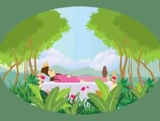 在森林例证的自由睡觉的公主