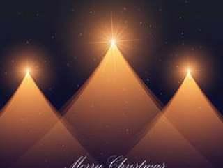 节日季节的三个创造性的圣诞树背景