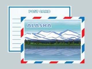 阿拉斯加Mountainscape明信片矢量