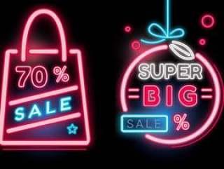 购物销售横幅霓虹灯矢量