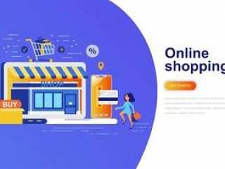 在线购物现代平概念web横幅网页模板矢量素材下载