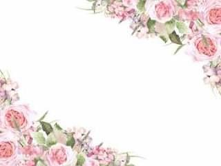 花框架155 - 玫瑰和绣球花粉红色的花框架