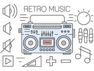 线性复古音乐图标