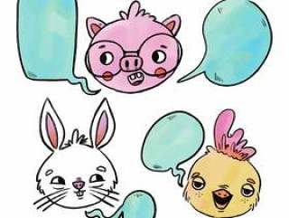 小动物兔子,小猪和小鸡与讲话泡泡