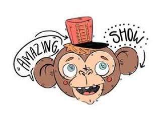 红色的帽子矢量可爱马戏团猴子