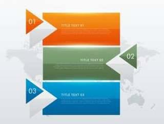三个步骤现代彩色图表模板商业公关