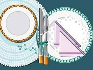 银色叉子和刀子用餐在木背景传染媒介
