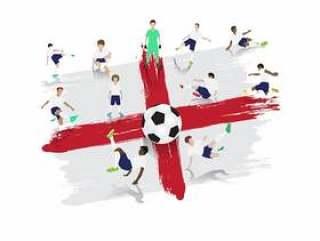 导航足球运动员队有英国旗子背景