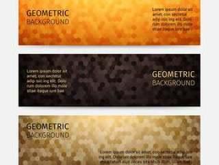 六角形抽象背景标头集