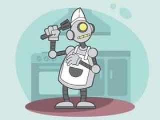 Ai机器人厨师例证