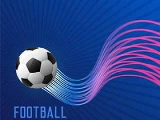 蓝色的足球比赛背景与闪亮的波浪线