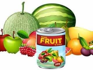 一罐混合水果和新鲜水果