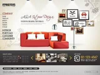 室内家具装饰网页设计PSD