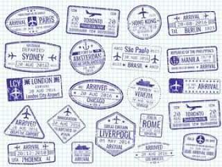笔记本页面上的国际签证盖章