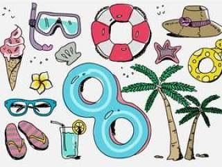 海滩度假材料手绘矢量图