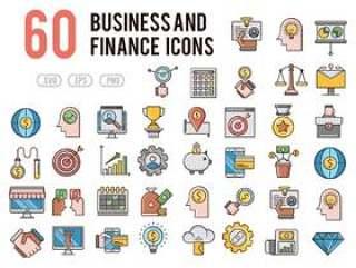 60商业与金融图标设置为移动,web,演示文稿和打印项目,60商业与金融图标