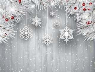 挂着银色圣诞树枝的雪花