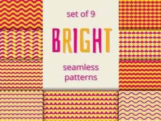 明亮的橙色和粉红色波浪和鳞片无缝模式