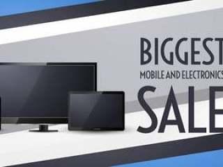 与电视,手机和平板电脑的最大销售横幅设计