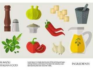 意大利食品馄饨成分矢量平