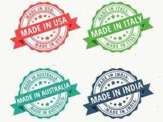一套在美国,澳大利亚,印度和意大利制造的橡皮图章
