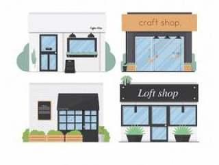 存储前面设置了平的设计4商店传染媒介例证背景
