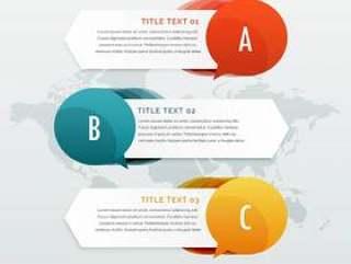 三个步骤选项信息图表web横幅