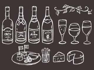 葡萄酒和小吃在黑板上