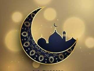 新月形月亮和清真寺与花卉装饰穆斯林eid f