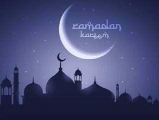 闪亮的月亮与清真寺节日问候