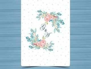 水彩花卉婚礼徽章