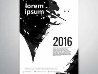用黑色墨水的抽象宣传册设计
