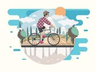 男子骑自行车矢量