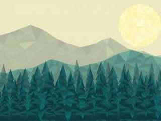 低多森林景观矢量背景