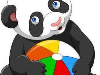 动画片使用与五颜六色的球的小熊猫