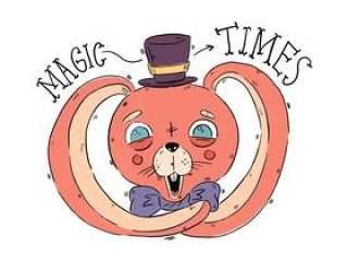 可爱的粉红色马戏团兔子与蓝色的眼睛矢量