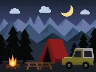 夜间野营矢量