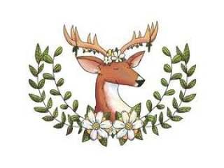 水彩鹿动物森林与花冠和叶子和黄色的花朵