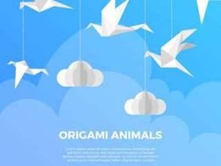 与现代最低纲领派背景传染媒介例证的平的origami动物鸟